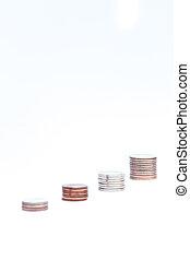 dinero, plano de fondo, gráfico, crecer, blanco, moneda