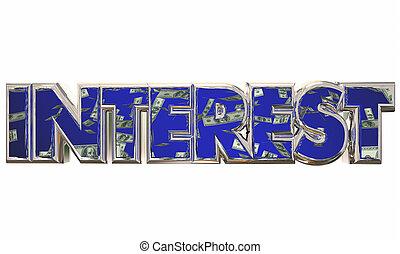 dinero, préstamo, tasa, ilustración, pedir prestado, ahorros, interés, deuda, pago, 3d