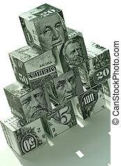 dinero, pyramid-financial, concepto