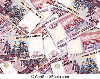 dinero, rouble, pila, plano de fondo, ruso, 500