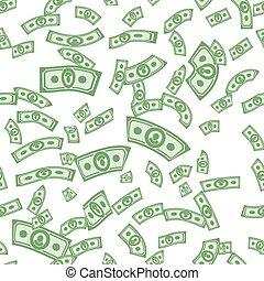 dinero, seamless, dólares, plano de fondo, patrones