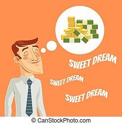 dinero, sobre, hombre, carácter, soñar