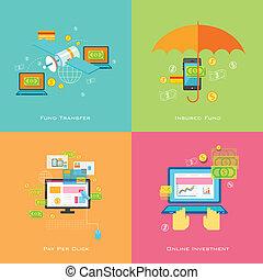 dinero, solución, en línea