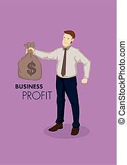 dinero, tenencia, caricatura, empresa / negocio, rentabilidad, hombre de negocios, bolsa, ilustración, vector