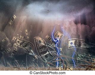 dinero, tormenta