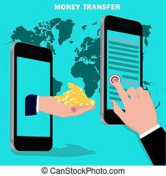 dinero, transferencia, plano, diseño, vector