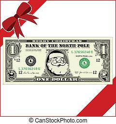 dinero, vector, navidad
