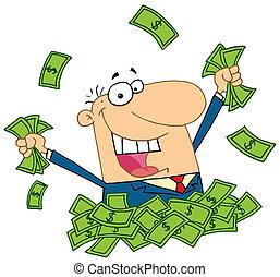 dinero, vendedor, pila, juego