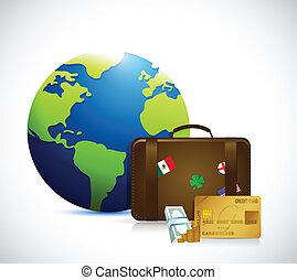 dinero, viaje, maleta, ilustración, globo