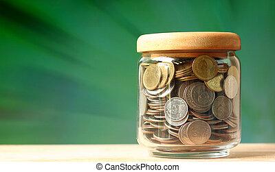 dinero, vidrio