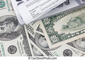 dinero, y, calculadora, con, impuesto, form.