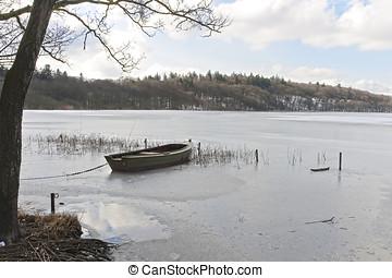 Dinghy in a Frozen Lake