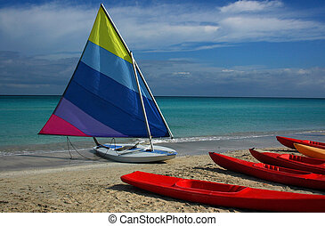 Dinghy on a Beach - Dinghy & Kyaks on a Caribbean Beach,