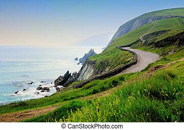 dingle, slea, kerry., penisola, contea, occidentale, costiero, testa, strada, ireland.