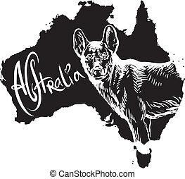 Dingo as Australian symbol - Dingo on map of Australia....