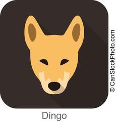 Dingo breed flat icon design