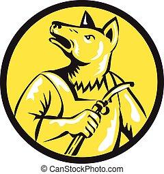 Dingo Dog Welder Circle Retro