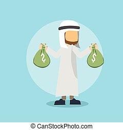 dinheiro, árabe, saco