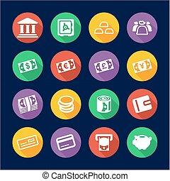 dinheiro, ícones, apartamento, desenho, círculo