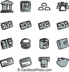 dinheiro, ícones, freehand, 2, cor