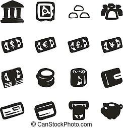 dinheiro, ícones, freehand, preencher