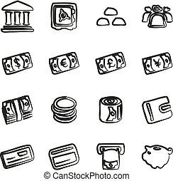 dinheiro, ícones, freehand