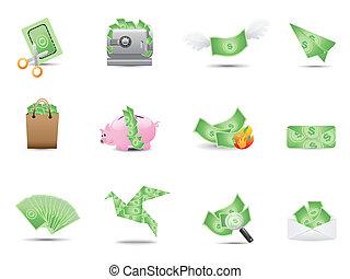 dinheiro, ícones, jogo