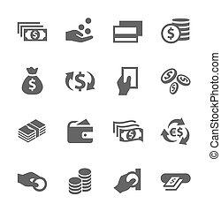 dinheiro, ícones, set.