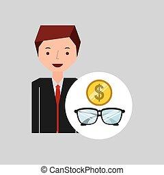 dinheiro, óculos, caricatura, homem negócio