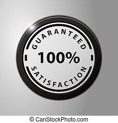 dinheiro, 100%, emblema, costas, garantia