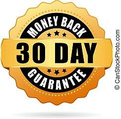dinheiro, 30, dias, costas, ícone, garantia