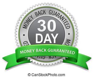 dinheiro, 30, guaranteed, costas, etiqueta, dia