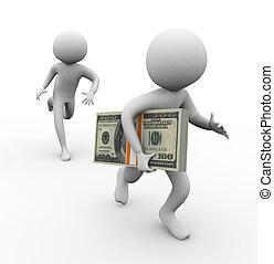 dinheiro, 3d, ladrão, roubando