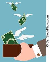 dinheiro, afastado, voando