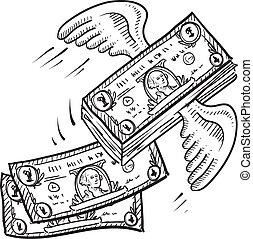 dinheiro, afastado, voando, esboço