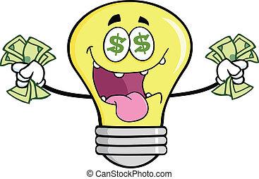 dinheiro, amando, personagem, bulbo, luz