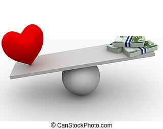 dinheiro, amor, ou