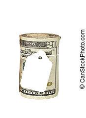 dinheiro, aprece etiqueta, rolo, em branco