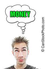 dinheiro, aproximadamente, homem, pensa, jovem