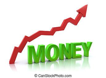 dinheiro, aumento, gráfico