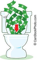 dinheiro, baixo, a, banheiro