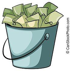 dinheiro, balde