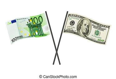 dinheiro, bandeiras