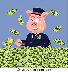 dinheiro, banhar-se, gorda, ricos, porca