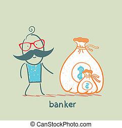 dinheiro, banqueiro, saco