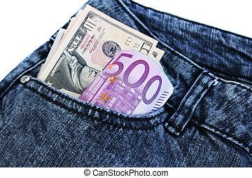 dinheiro bolso, calças brim