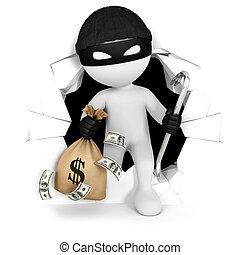 dinheiro, branca, 3d, ladrão, pessoas