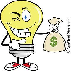 dinheiro, bulbo, saco, segurando, luz
