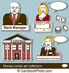dinheiro, cômico, 2, arte, cobrança