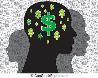 dinheiro, cabeça, símbolo, human